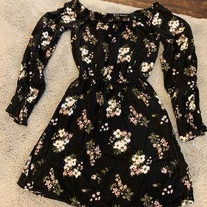 Hollister: black floral off the shoulder dress